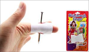 New Prank Joke Toy Fake Nail Through Finger Trick Halloween Kids Children Gags Practical Jokes(China (Mainland))
