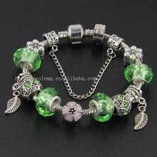 Handmade Fashion Green Glass Bead Bracelets For Women Fits Pandora Style Charm Bracelets Jewelry VRT03