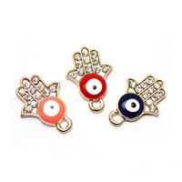 New arrived!!! Diy jewelry 100pcs/lot hamsa fatima charms for bracelets enamel jewelry free shipping