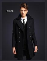 FREE SHIPPING Men Bussines Wool Coat  Winter Casual Breasted Men's Ovim Outwear Long Design Double Breasted Wool Men Coat M~XXL