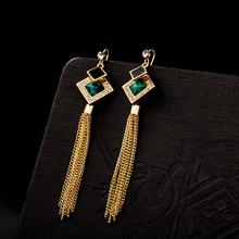 Women Dropping Earrings Cubic Zirconia Dangle Earring Party Earrings Trendy Wedding European Style Emerald Fashion Earrings