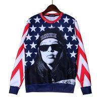 America Freedom Cool Men Crewnecks  3D Hoodies Sweatshirts  Long Sleeve Outerwear Pullovers