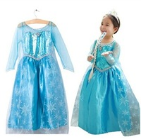 Girl's Long Dress Elsa Cosplay Movie Party Dress Long Sleeve Lace Floor Princess Prom Dress New Year Costumes Free Shipping