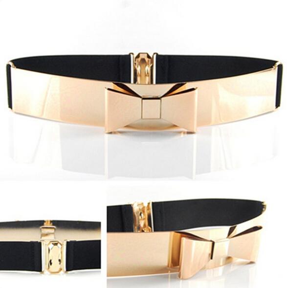 Woman Embellished Metal Keeper Metallic Belts Bling Big Gold Mirror Bow Wide Obi Belt(China (Mainland))