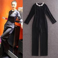 Brand celebrity fashion women's 2015 cutout slim trousers flower beading long-sleeved slim Black jumpsuit
