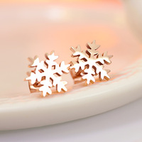 Simple and beautiful snowflake earrings pierced female version free shipping