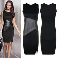 New 2015 Fashion Slim OL Leather Patchwork Casual Pencil Dress Woman Sexy Bodycon Sleeveless Elegant Party Dresses Vestido 2685