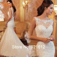 2015 Fashionable Sexy Luxury Backless See Through Gown Lace Mermaid Bride Vintage Romantic Vestido De Noiva Wedding Dress WDF25