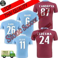 New!1415 lazio jersey home Away blue soccer jerseys  lazio 2015 MAURI  KLOSE LEDESMA RADU GONZALEZ  football sport Jersey shirts