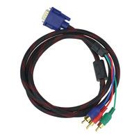 Scolour 2015 New 1.5M 5FT HD15 VGA SVGA to MALE RGB 3 RCA Component CABLE PC TV/HDTV