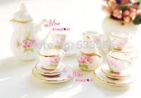 Free Shipping~Dollhouse Miniature porcelain China Coffee Tea Lid Pot Cups Set 15 PCS DC138 NEW