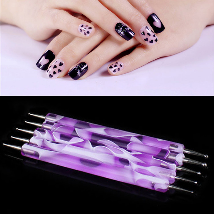 1Set Colorful 2 pcs 2 Way Marbleizing Nail Dotting Pen Manicure Tools Nail Art Dotting Tool Set Double-Point 2-End Purple(China (Mainland))