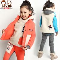 Children's clothing female child 2014 winter child sports set child clothes plus velvet thickening sweatshirt piece set