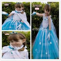 Girls Gauze  Dresses Infant Girl Party Dress 5PCS/LOT  Frozen girl's dress  (dress+cappa+glove)