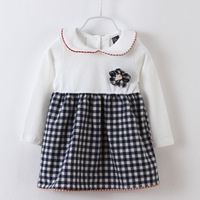 5pcs/lot kids girls casual patchwork plaid long sleeve cotton dress children new 2015 spring fall fasion cute dress clothes