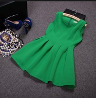 D50 Female high quality spring autumn plus size red green black o-neck empire Hedging thicken slim tank dresses B01 GD1180