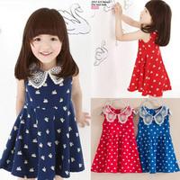 2015 Summer sleeveless print girls dresses NOVA lace children princess costume Fashion tutu dress one piece girl apparel HA086