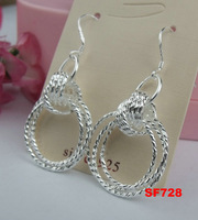 New for 2015 1pair Women 925 Silver Round Dangle Drop Party Earrings,Fashion Sterling jewelry,Free Shipping!