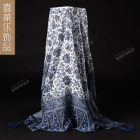 2015  female winter blue and white porcelain fluid scarf Autumn and winter bali yarn scarf female cape ultra long dual fluid