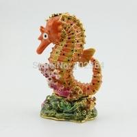 Sea Horse Metal Jewelry Trinket Box Ornament Trinket Box Free Shipping