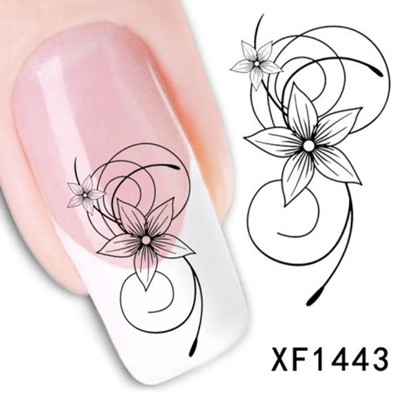Hot New Fashion Elegant Lovely Women Black Flower Nail Water Stickers DIY free shipping(China (Mainland))