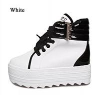Black Zapato De Mujer Fashion Wedge Sneakers Women White Height Increasing High Top Platform Shoes Woman Sapatos Femininos