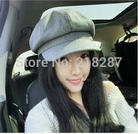 Free Shipping 2015 New bonnet octagonal cap woolen fashion painter cap hat female Korean newsboy cap
