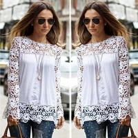 2015 mulheres Blusas camisas Chiffon mulheres Sheer luva bordado Lace Crochet Tee Chiffon  Camisa Blusas Feminina WL2213