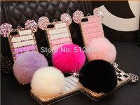 Fashion fRhinestone Rabbit ur balls Phone Case for iphone 5 5s Protective case for iphone 4 4S cover Free shipping