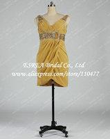 Pleat Chiffon V Neck Gold Sexy Short Women Cocktail Dresses Evening 2015 Cap Sleeve With Beading Belt T1374