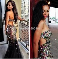 Colorful Rhinestones Mermaid Prom Dress 2015 Sexy Backless Evening Dress Strapless Women Formal Dress vestidos