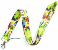 Free shipping, Lot 10 Pcs Tinkerbell Strap Lanyards For ID Badge Mobile Phone Key Chain