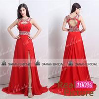 Hand-Made Beaded High Slit Red Evening Dress Open Back Jewel Neck Long Prom Dress Sexy Keyhole Sleeveless Evening Gown 18104