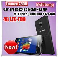 "Original Lenovo A606 4G LTE Phone 5.0"" IPS 480*854p MT6582m MTK6290 Quad core 512MB RAM 4GB ROM 5.0MP Dual Camdard"