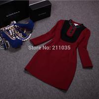 D50 Female autumn winter plus size button Mandarin collar pu splice Hedging thicken slim woolen dresses B01 GD1180