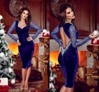 New Arrival Sheath Short Evening Dress Sweetheart Long Sleeve Knee Length Appliques Lace Backless Taffeta Party Dresses
