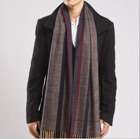 Men Scarf 2015 New Winter Herringbone Twill England Plaid Stripes Warm Cashmere Fashion Popular 175*230CM male scarf12.23-86()