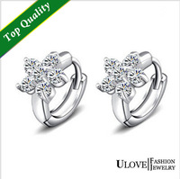 Fashion Flower Crystal Silver Earrings for Women Party Trendy 2015 Cute Cheap Beautiful Jewelry Brincos Pequenos Big Sale Y045P