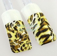 Wholesale 10pcs/lot 3D Brown BLack Leopard Water Transfer Nail Art Sticker DIY Decal Beauty Salon 501# Free Shipping