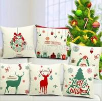 45*45cm Christmas Cushion Cover Pillowcase Santa Claus Merry Christmas Tree Fluid Pillow Cover Almofadas Decorativas Home Decor