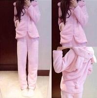 Pajamas Sets for women winter casual Rabbit ears comfortable flannel tracksuit sleepwear pajama ladies women's nightwear SW125