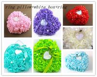 GAGA ! Free shipping wholesale mix colour wedding ring pillow with white box and ring  8 pcs/lot    , TWXA20-1
