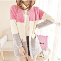 2015 new autumn winter women fashion striped warm long-sleeve mahai sweater soft female multicolor casual cardigans