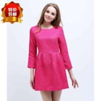 Plus size elegant small cut out formfittingly jacquard relievo three-dimensional decorative pattern fabric bud one-piece dress