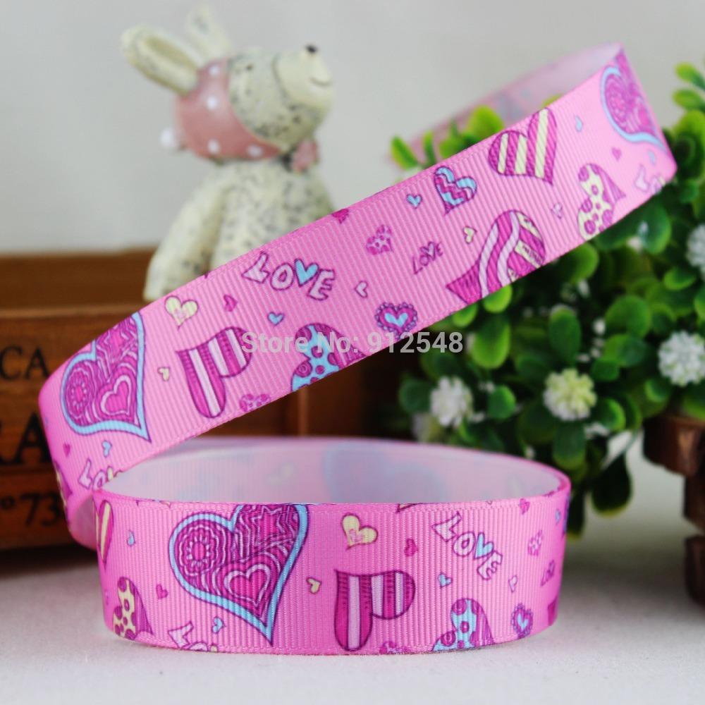 14122024 ,22mm Valentine's Day Series Printed grosgrain ribbon, DIY handmade materials, wedding gift wrap(China (Mainland))