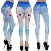 2015 Europe Digital Space Cartoon Frozen Pencil Trousers Leggings Skinny Elastic Jeggings Fitness Sport Leggin Women Leggings