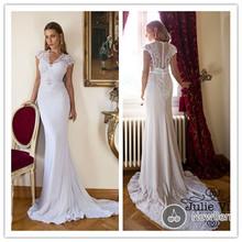 Vestido De Noiva Julie Vino Mermaid Lace Wedding Dress 2015 V Neck Lace Appliques Backless Chiffon Wedding Bridal Gowns AE21(China (Mainland))