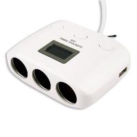 New white 4IN1 Dual USB 3Socket Charger Adapter Car Cigarette Lighter Multi Socket Splitter Q4057B