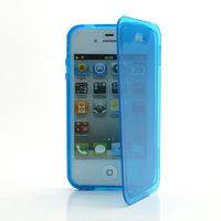 2014 New 1 pcs Smooth Flip Folio TPU Gel Case Cover for iPhone 4 4S Free Shipping
