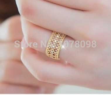 2015 Fashion Korean version of the influx of people openwork rose gold ring women love jewelry